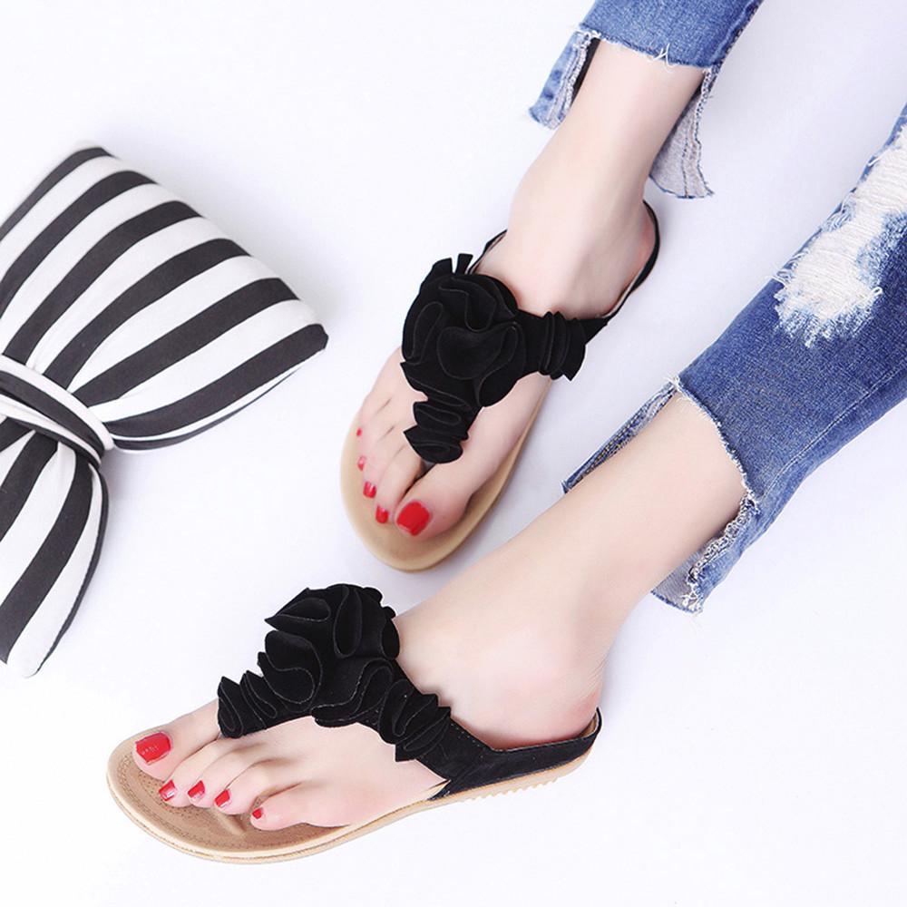 Dainzusyful Summer Sandals for Women Slip-On Flat Clip Toe Lace Floral Shoe Beach Roman Dress Sandal Shoes