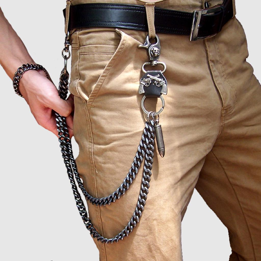 Punk Style Pants Trousers Jeans Wallet Chain Rock Hip Hop Skull Waist Chain