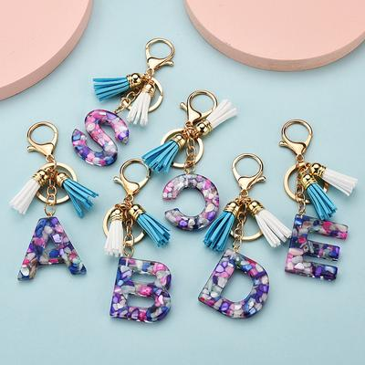 1PC Handmde Gift Acrylic Keychain Bag Pendant Stone Pattern A-Z Alphabet Tassel Key Accessories