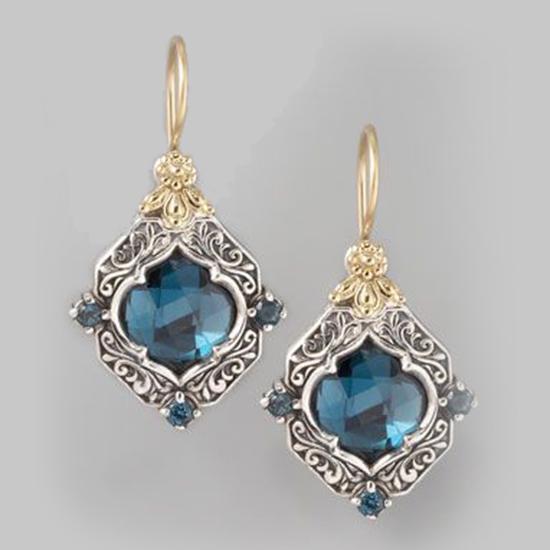 Чехия стиль синий кристалл антикварная резные женщины Серьги ювелирных ухо Drop Валентина подарки фото