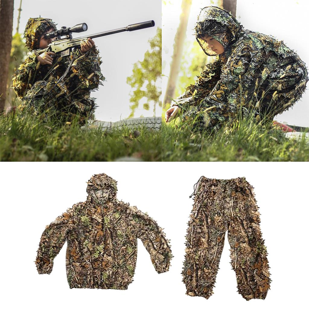 Kids 3D Leaves Ghillie Suits Outdoor Clothing Jungle Woodland Hunting Game