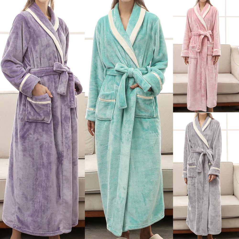 Winter Women/'s Lengthened Bathrobe Splicing Home Clothes Long Sleeved Robe Coat