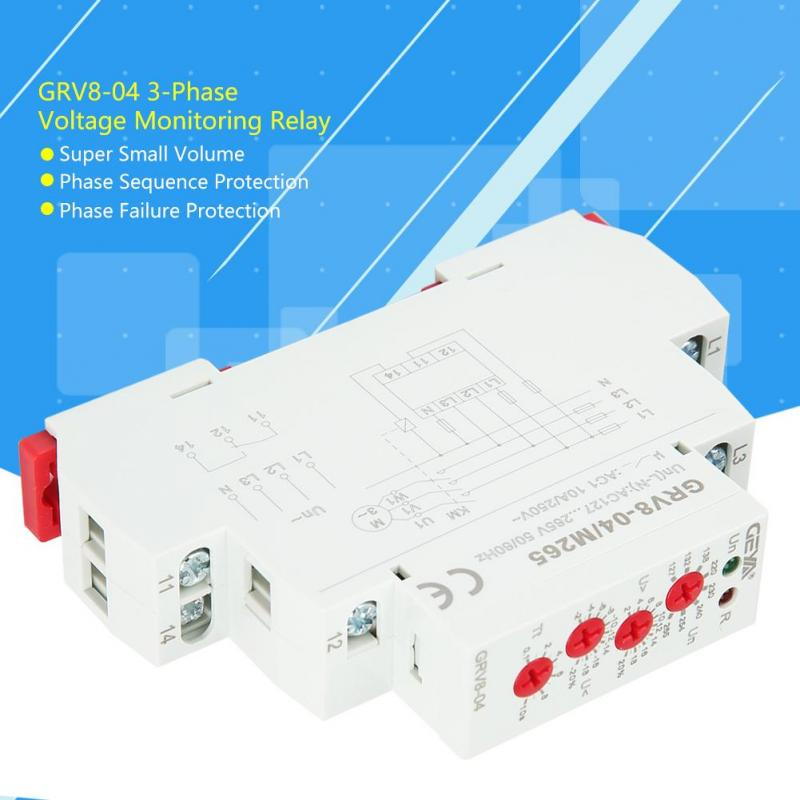 GEYA GRV8-03 Three Phase Voltage Monitoring Relay Phase Sequence and Phase Failure Protection Relay 10A GRV8-03 M265
