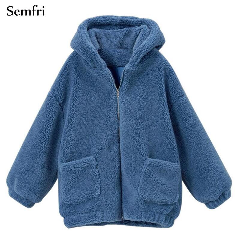 Женщины плюс размер ягненка свитер пальто Зимний Теплый Hoodie куртка – купить по низким ценам в интернет-магазине Joom
