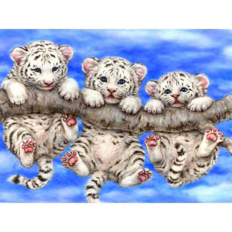 Diy钻石画三只小老虎金刚石刺绣在树上的十字绣十字绣