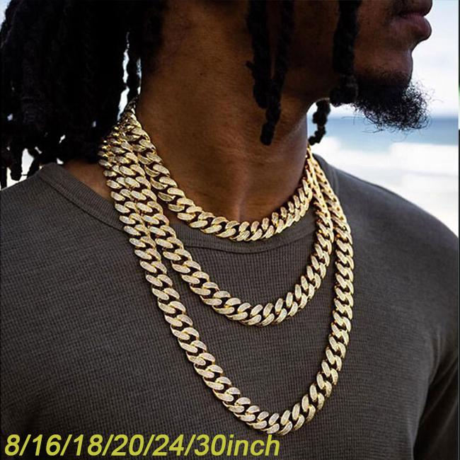 """Miami Cuban Link Choker Necklace Hip Hop Silver Full Iced Out 16/"""",18/"""" 20/"""" 24/"""""""