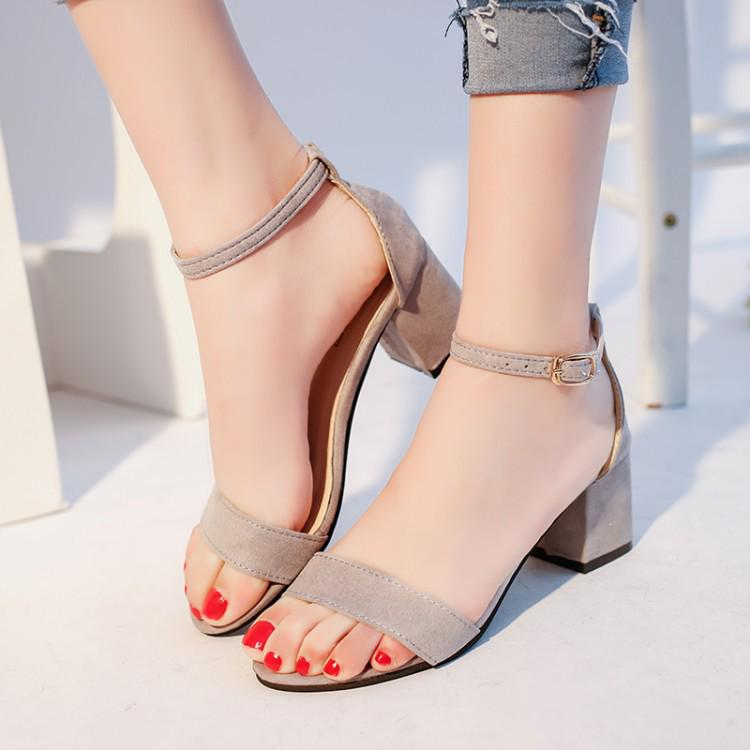 Details about  /Ladies Summer Ankle Strap Buckle High Block Heel Sandals Shoes Leisure Party 45