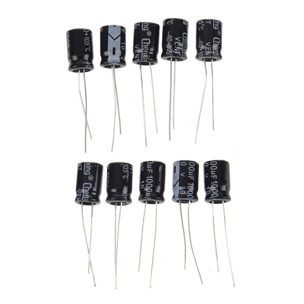 15 Pcs 1000uF 25V 105C Radial Electrolytic Capacitors Black 10x17mm