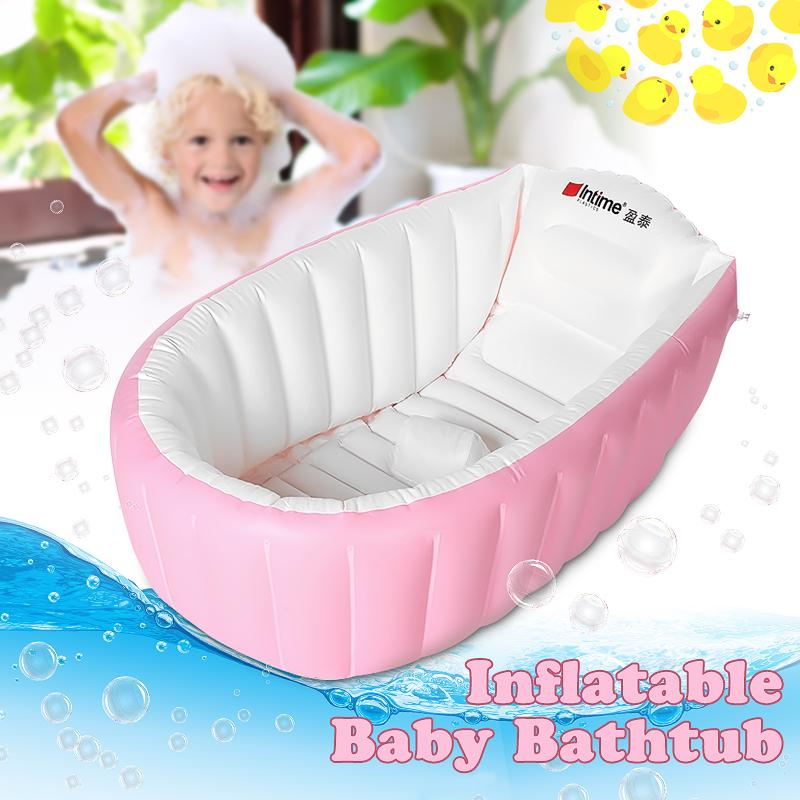 For 0-3 Years with air pump Baby Inflatable Bathtub Intime Children Anti-slippery Swimming Pool Foldable Travel Air Shower Basin Seat Baths Big Size Blue