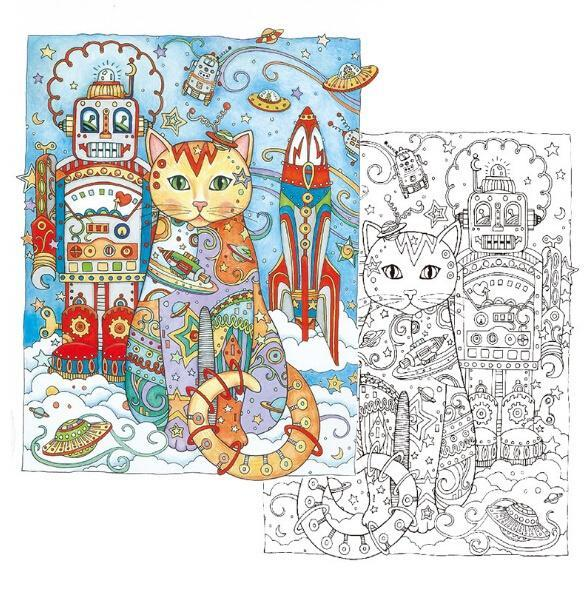 Creative Haven Cats Colouring Book For Adults Antistress Coloring