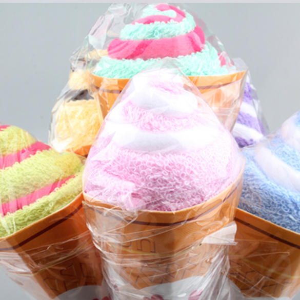 Portable Double Color Cute Soft Washing Towel Shaped Ice Cream Gift Favor #K