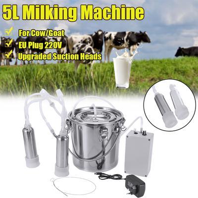 5L Electric Milking Machine Vacuum Pump Cow Goat Milker Double Heads Adjustable
