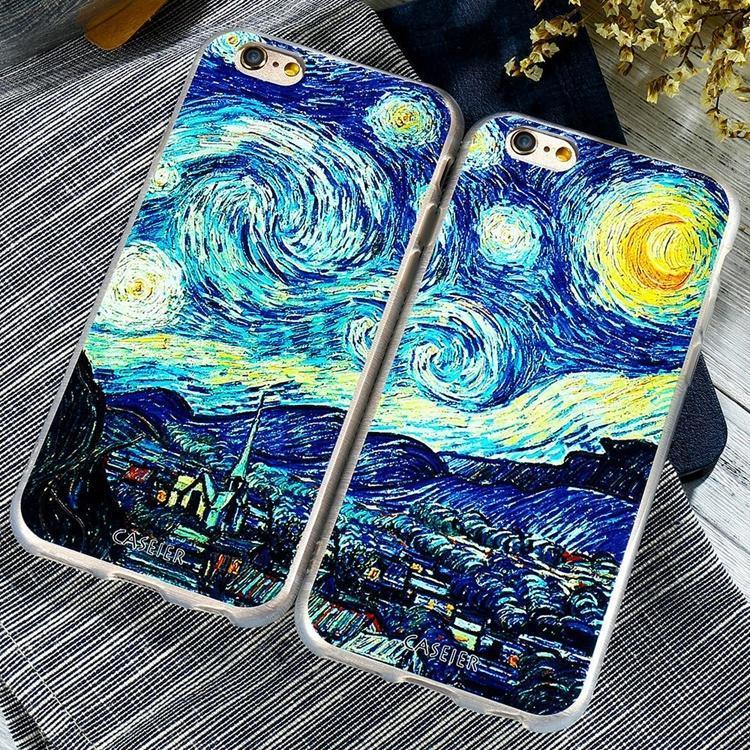 Per iPhone per Samsung Galaxy moda 3D notte stellata olio su tela stampata Mobile Phone Back Cover