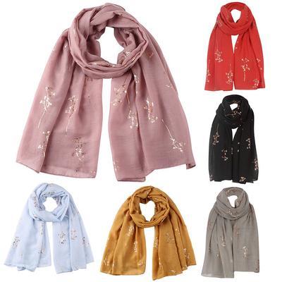 Fashion Women/'s Scarf Soft Chiffon Silk Flower Printed Scarves Travel Wrap Shawl