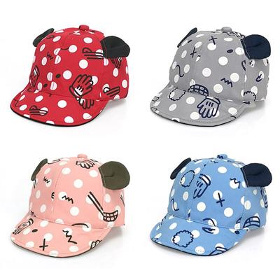 Baby Boys Girls Summer Polka Dot Soft Cotton Snapback Baseball Cap Beret Sun Hat