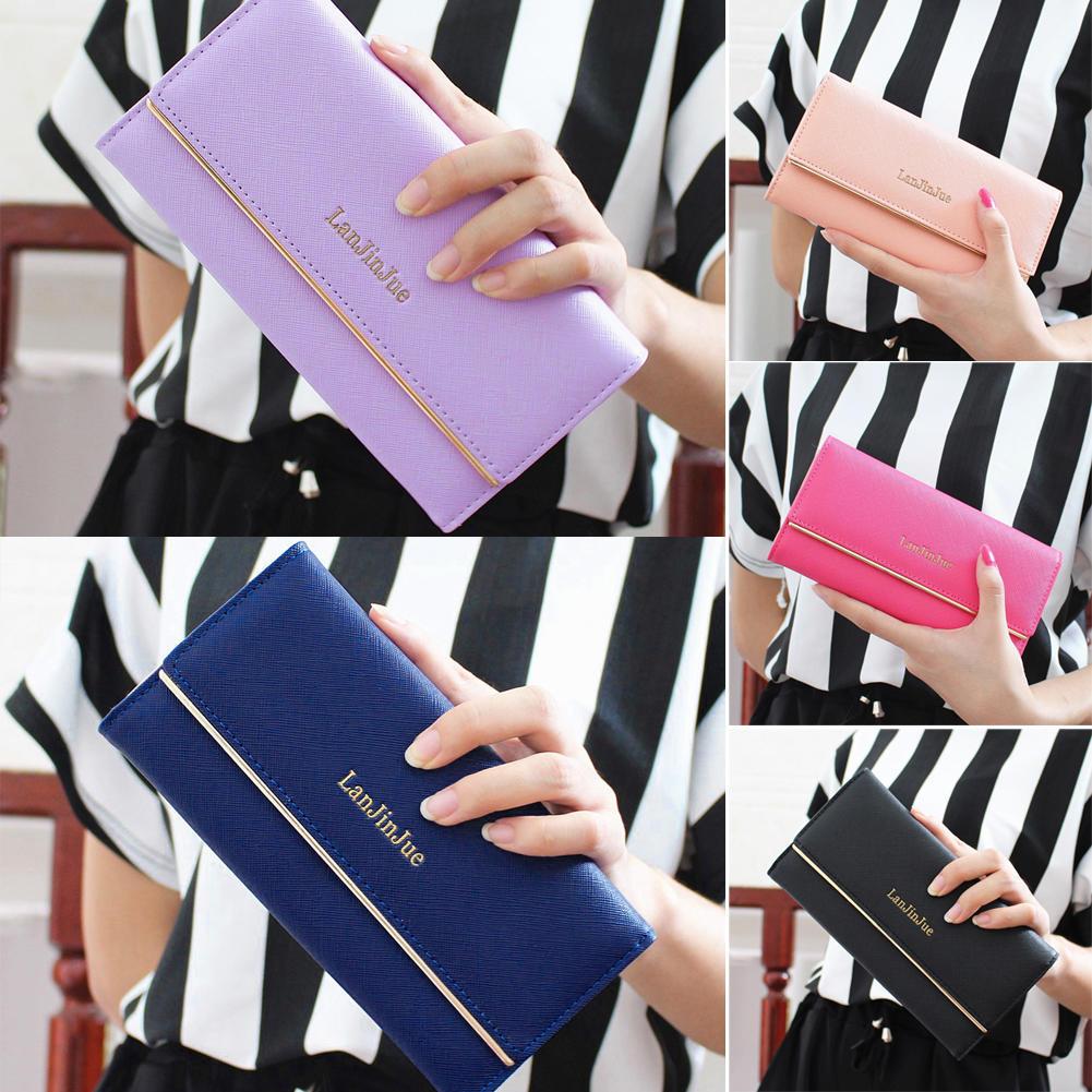 韩版简约女士十字纹长款钱包 欧美时尚三折女式皮夹