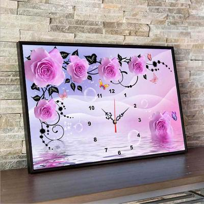 Rose Flowers and Real Clock 5D Full Diamond Painting Embroidery DIY Craft Home Decor Wall Painting Home Entertainment