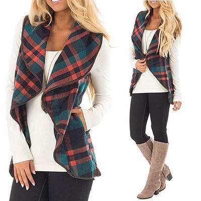 Взимку жіноча жилет плед без рукавів лацкан відкриті стійка кардиган шерпа  куртки кишені Кофточка 3a651cca53553
