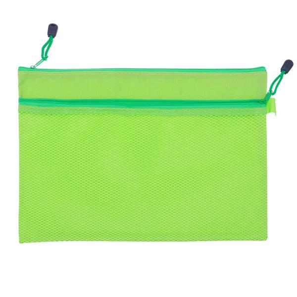 Colorful Large Pencil Case A4 Folder Document Zip Mesh Bag Pouch Purse school