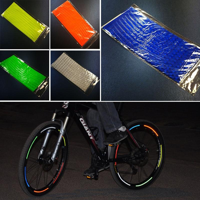 Cycling Fluorescent MTB Bike Bicycle Wheel Rim Stickers Reflective Decal Tape US