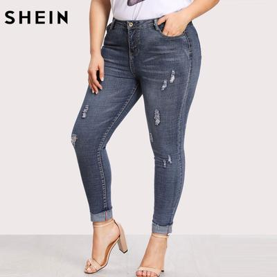 2a003ffd5d3 Woman Plus Size Jeans High Waist Women Pocket Back Ripped Pants Slim Denim  Trousers For Casual
