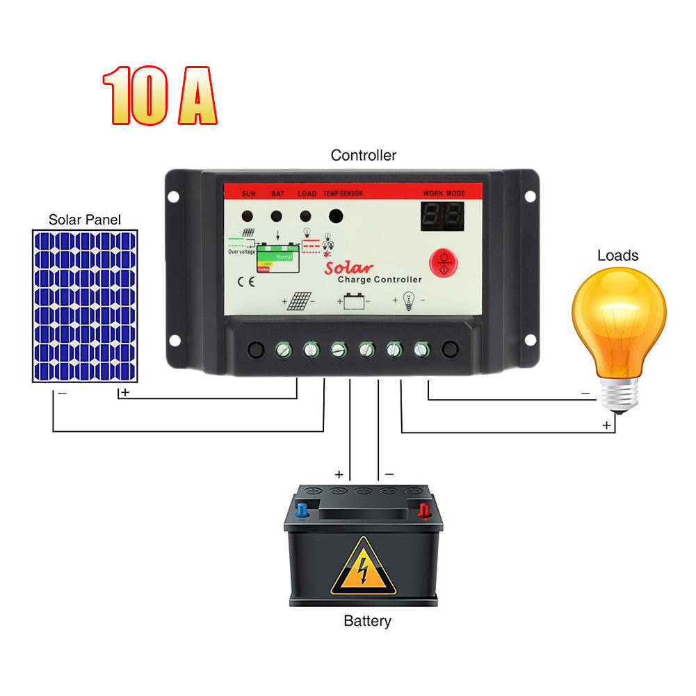Solar controller auto switch charging regulator LED display overload pro