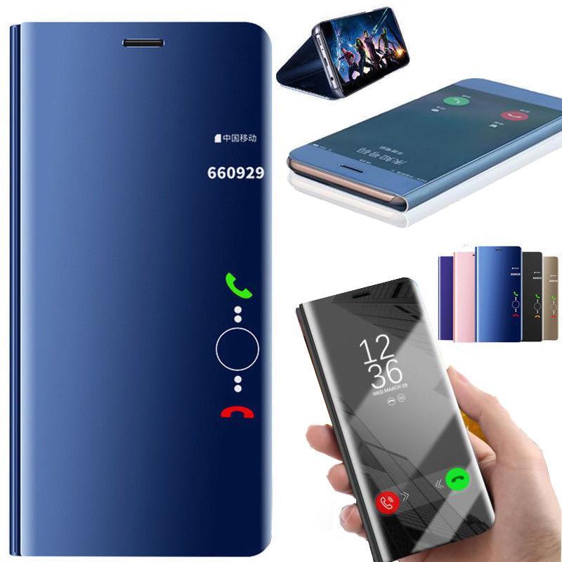 Зеркало очистить вид Smart Flip Телефон случае для Samsung S10 S20 Плюс iPhone XS MAX HUAWEI P30 P40