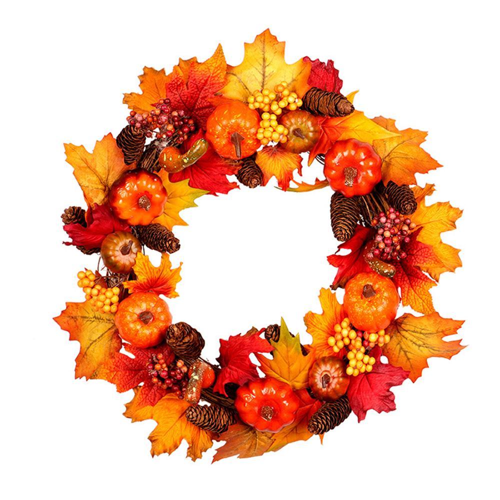 50CM Round Autumn Maple Leaf Pumpkin Wreath Door Garland Thanksgiving Wall Decor