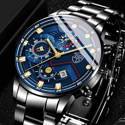 Fashion Men Watches Black Stainless Steel Calendar Quartz Wristwatches Luxury Mens Casual Watch Uhren Herren