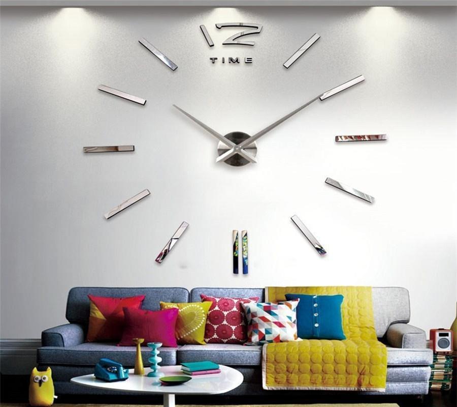 Últimos 3D DIY espejo plata arte relojes casa grande decoración ...