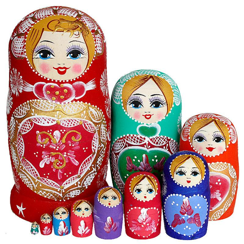 5//6//10pc Wooden Nesting Doll Russian Dolls Matryoshka Stacking Toy Gift for Kids