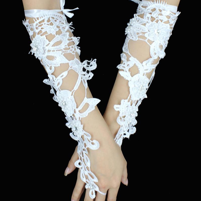 Bridal Gloves Gloves Long Fingerless Arm Tulip Wedding Lace Rhinestone