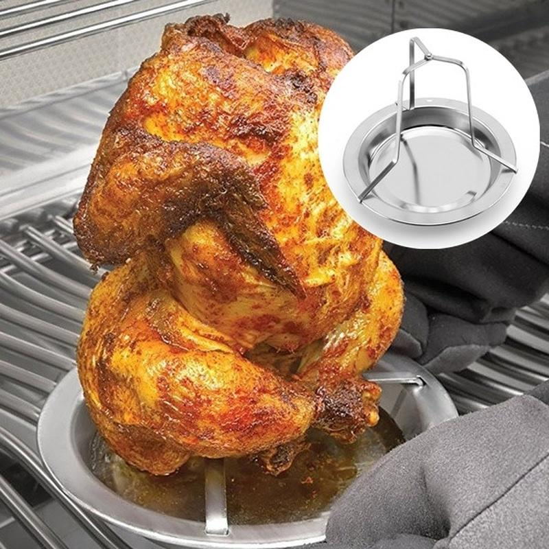 BBQ Accessories Poultry Frying Rack Set Seasoning Injector Stainless Thermometer