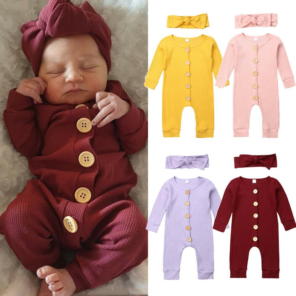 Cute Newborn Baby Girls Boys Cotton Tops Romper Jumpsuit Outfits Cap Clothes UK