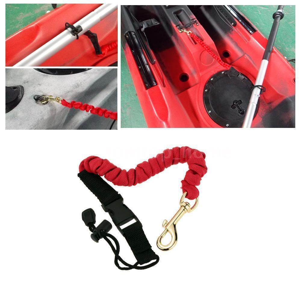 Safety Coiled Paddle Leash Fishing Rod Safety Cord Tether Hook Kayak Canoe Boat