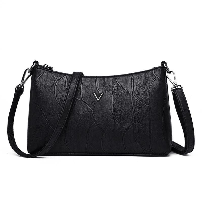 Solid Color Shoulder Messenger Handbags Women Leather Casual Crossbody Bags JF#E
