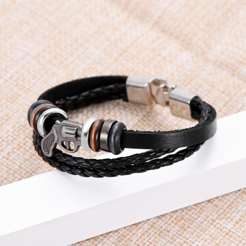 Unisexe multicouche en cuir véritable tressé I love Jesus Bracelet Cuff Bangle Set