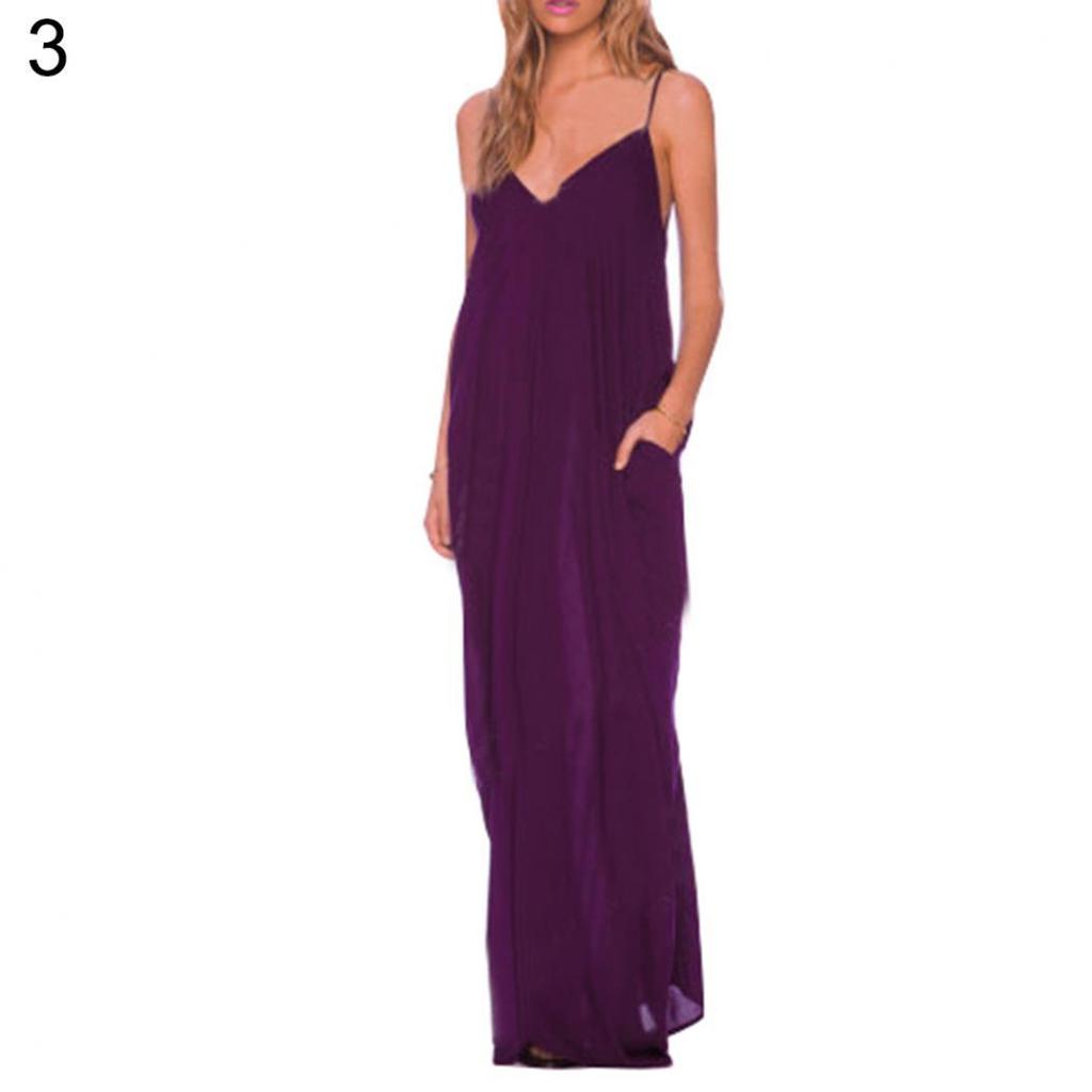 Mujeres Sexy escote en v sin espalda eslinga correa vestido largo ...