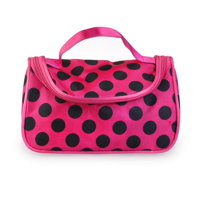 cosmético bolso Polka Cremallera Rosy viaje aseo Handbag bolsa Dots wqqx6B5E