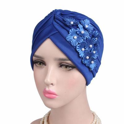 500e45fb373b8 Femmes perles Skullies Floral bonnets chapeaux Windproof sommeil casquettes  Bandanas foulard