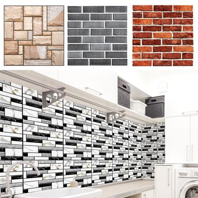 9PCS 3D Brick Tile Sticker Self-adhesive Wall Panel Decals Home Kitchen Decor