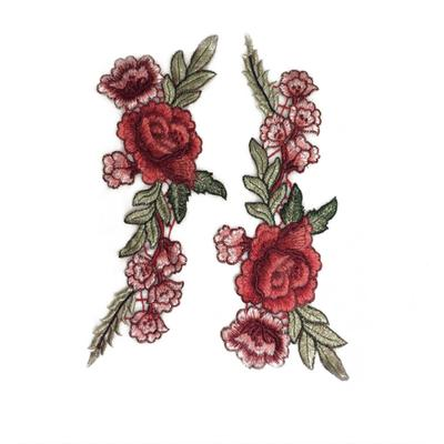 Rose Flower Applique Patch Badge Embroidered Sew on Floral Dress Collar Crafts