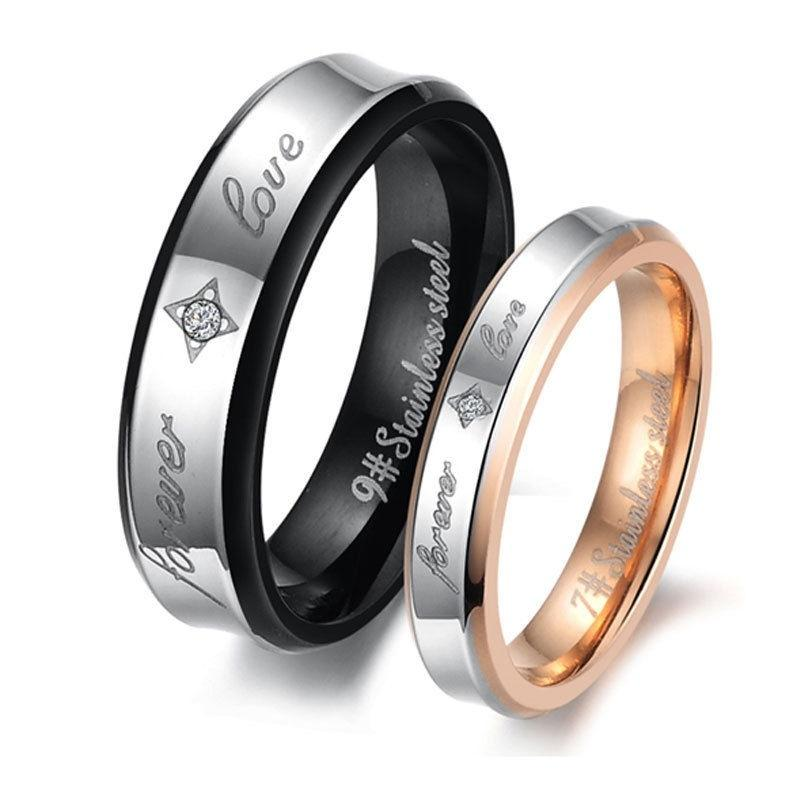 Titanium Steel Promise Wedding Bands minimalist silver/&Black gift Couple Rings