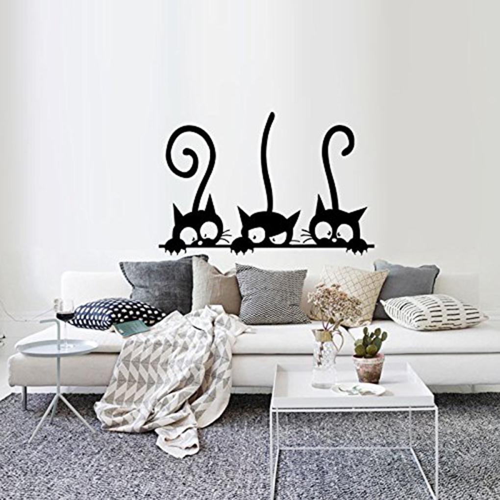 Стену клей милый мультфильм кошка стены наклейки спальня гостиная стены наклейки дома DIY декорации фото