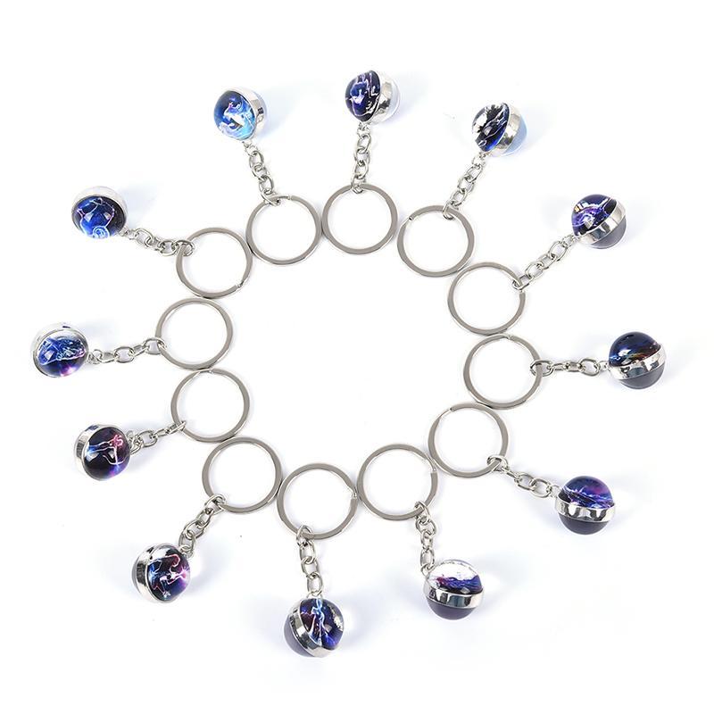 12 Constellation Unisex Constellation Key Chain Ring Creative Gifts Accessories