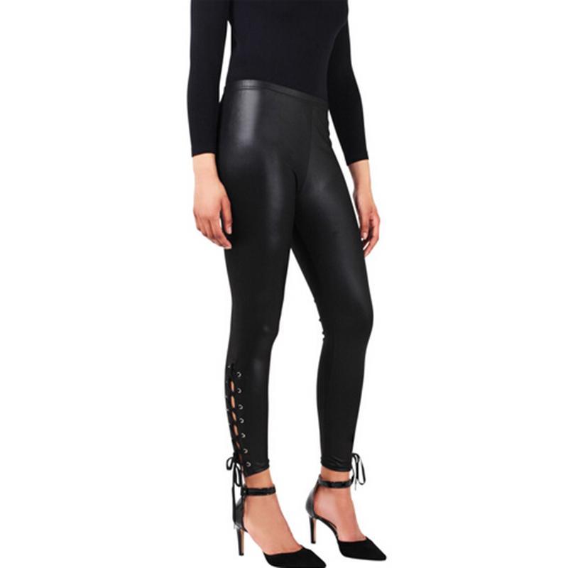 Сексуальная женщина тонкий леггинсы кожезаменитель кружева Up LeggingsSkinny панк Clubwear Леггинсы до середины голени брюки – купить по низким ценам в интернет-магазине Joom