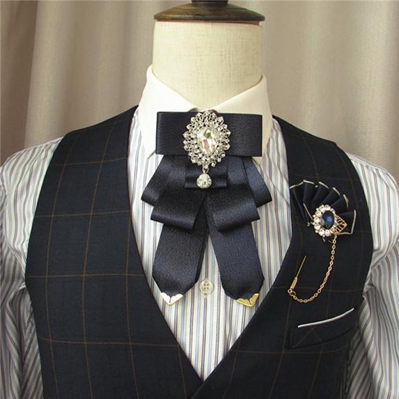 Retro Wedding Party Clip On Neck Bow Tie Ribbon Rhinestone Necktie Brooch Decor