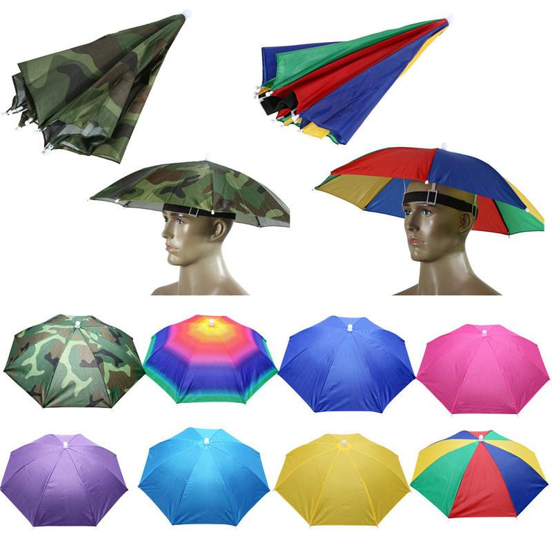 05b8bc91b84 Umbrella Hats Women Men Sun Rain Elastic Headband Fishing Caps ...