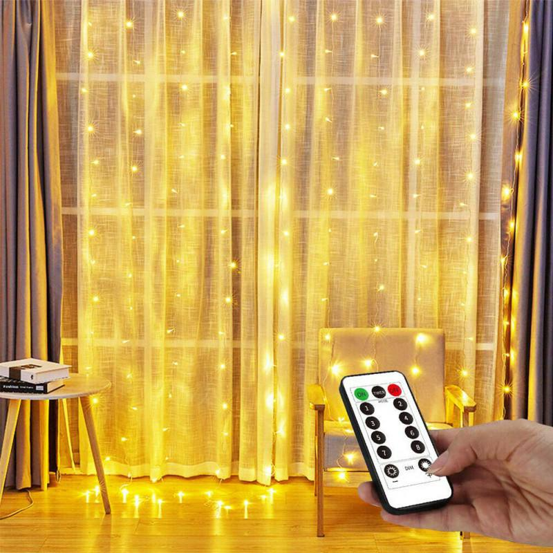 100//200//300LED USB Curtain String Lights Flash Fairy Garland Remote Control Xmas