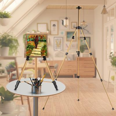 "64/"" Tall RED CHERRY Wood Tripod Exhibition Artist Studio Floor Display 1 Easel"
